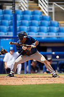 Lakeland Flying Tigers left fielder Derek Hill (18) lays down a bunt during a game against the Dunedin Blue Jays on May 27, 2018 at Dunedin Stadium in Dunedin, Florida.  Lakeland defeated Dunedin 2-1.  (Mike Janes/Four Seam Images)