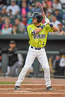 Center fieldser Quinn Brodey (2) of the Columbia Fireflies bats in a game against the Augusta GreenJackets on Friday, April 6, 2018, at Spirit Communications Park in Columbia, South Carolina. Columbia won, 7-2. (Tom Priddy/Four Seam Images)