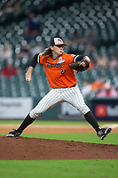 Sam Houston State Bearkats relief pitcher Nick Mikolajchak (21) in action against the Mississippi State Bulldogs in game eight of the 2018 Shriners Hospitals for Children College Classic at Minute Maid Park on March 3, 2018 in Houston, Texas.  The Bulldogs defeated the Bearkats 4-1.  (Brian Westerholt/Four Seam Images)