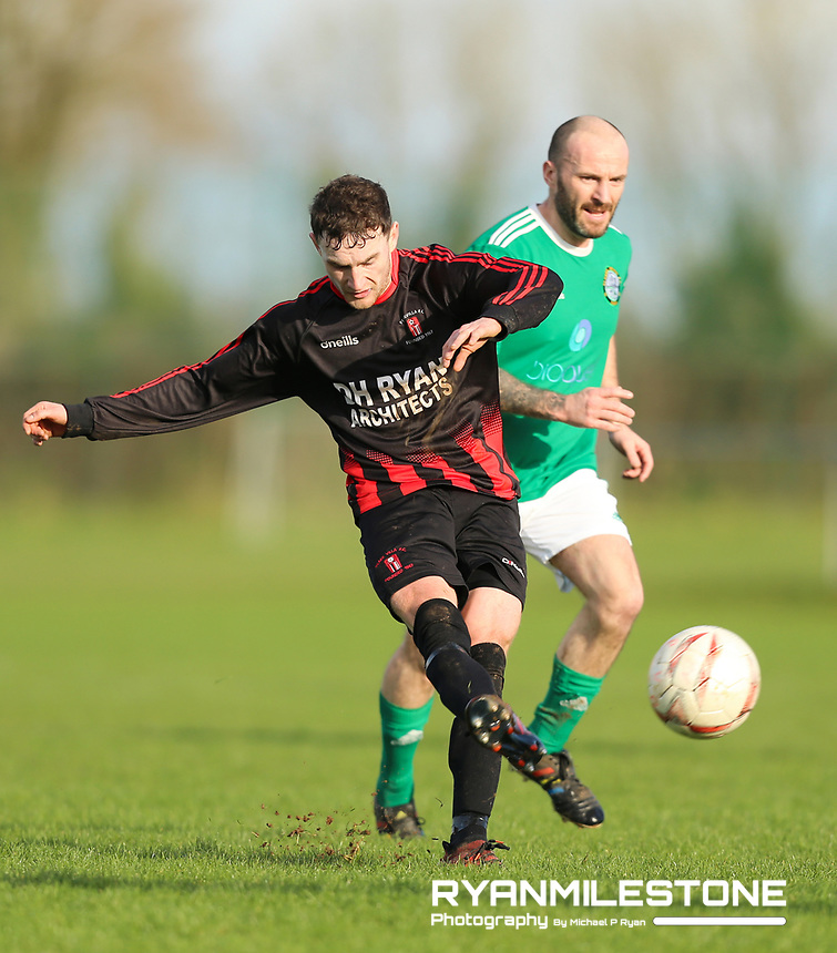 EVENT:<br /> TSDL Premier Division<br /> Peake Villa v Clonmel Celtic<br /> Sunday 12th January 2020<br /> Tower Grounds, Thurles, Co Tipperary<br /> <br /> CAPTION:<br /> Stephen Carroll of Peake Villa has a shot on goal.<br /> <br /> Photo By: Michael P Ryan