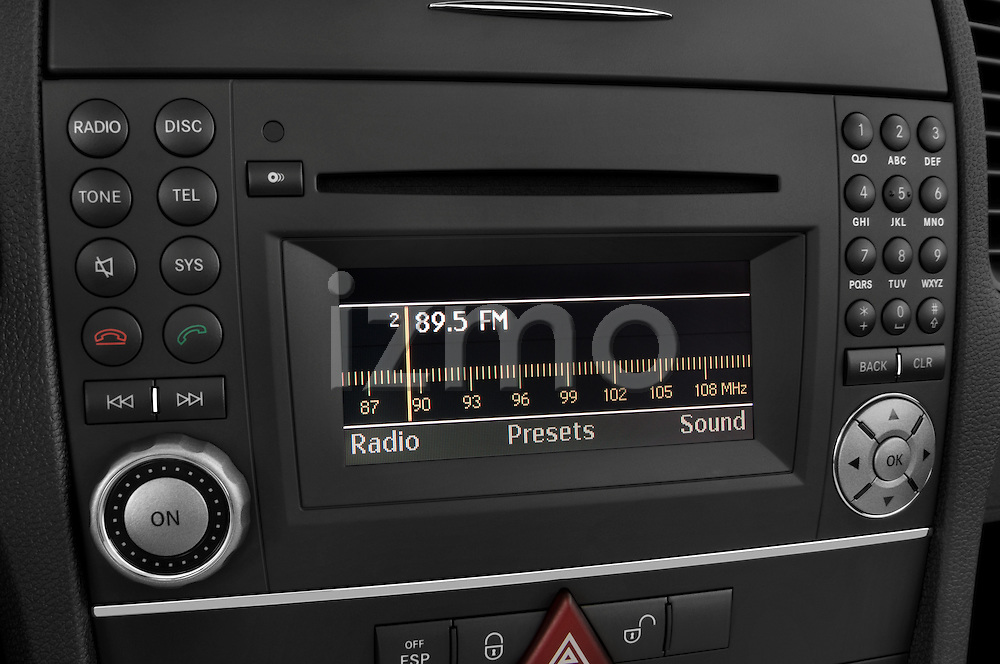 Stereo audio system close up detail view of a 2009 Mercedes SLK Class 350
