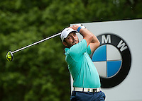 24.05.2015. Wentworth, England. BMW PGA Golf Championship. Final Round.  Francesco Molinari [ITA] starts the day tied first with Byeong Hun An [KOR]. Tee shot 3rd hole during the final round of the 2015 BMW PGA Championship from The West Course Wentworth Golf Club