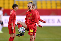 Sarah Wijnants (10) of Belgium  pictured during the warming up of a friendly female soccer game between the national teams of Germany and  Belgium , called the Red Flames  in a pre - bid tournament called Three Nations One Goal with the national teams from Belgium , The Netherlands and Germany towards a bid for the hosting of the 2027 FIFA Women's World Cup , on Sunday 21 st of February 2021  in Aachen , Germany . PHOTO SPORTPIX.BE   SPP   STIJN AUDOOREN