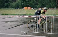 Christopher Juul-Jensen (DEN/Mitchelton-Scott) racing towards the finish wile the peloton parallels behind him<br /> <br /> Stage 4: Gansingen > Gstaad (189km)<br /> 82nd Tour de Suisse 2018 (2.UWT)