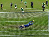 20th February 2021; Easter Road, Edinburgh, Scotland; Scottish Premiership Football, Hibernian versus Hamilton Academical; Ryan Fulton of Hamilton saves the penalty from Martin Boyle of Hibernian