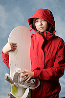 Montreal (Qc) CANADA ,  Nov 2008 -<br /> Model Released illustration photo -<br /> <br /> lgts02008 teenage female snowboarder  teen putting on sunscreen