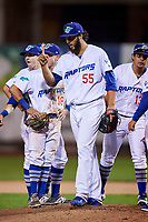 Miguel Urena (55) of the Ogden Raptors during the game against the Great Falls Voyagers at Lindquist Field on September 14, 2017 in Ogden, Utah. The Raptors defeated the Voyagers 7-4 in Game One of the Pioneer League Championship. (Stephen Smith/Four Seam Images)