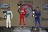 #8: Marcus Ericsson, Chip Ganassi Racing Honda   #9: Scott Dixon, Chip Ganassi Racing Honda   #29: James Hinchcliffe, Andretti Steinbrenner Autosport Honda   podium