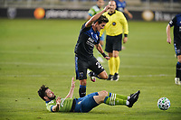 SAN JOSE, CA - OCTOBER 18: Joao Paulo #6 of the Seattle Sounders tackles Carlos Fierro #21 of the San Jose Earthquakes during a game between Seattle Sounders FC and San Jose Earthquakes at Earthquakes Stadium on October 18, 2020 in San Jose, California.