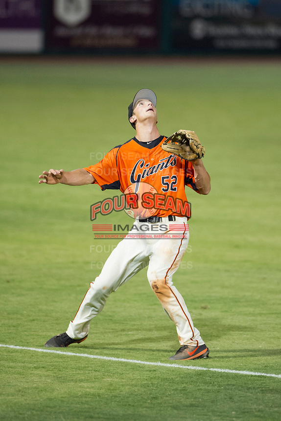 AZL Giants third baseman Jacob Gonzalez (52) prepares to catch a pop fly against the AZL Cubs on September 5, 2017 at Scottsdale Stadium in Scottsdale, Arizona. AZL Cubs defeated the AZL Giants 10-4 to take a 1-0 lead in the Arizona League Championship Series. (Zachary Lucy/Four Seam Images)