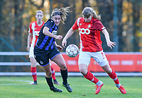 Aster Janssens  of Standard (5) pictured  in a duel with Ellen Martens (2 Brugge) during a female soccer game between Standard Femina de Liege and Club Brugge YLA on the seventh matchday of the 2020 - 2021 season of Belgian Scooore Womens Super League , saturday 14 th of November 2020  in Angleur , Belgium . PHOTO SPORTPIX.BE | SPP | DAVID CATRY