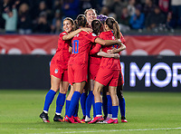 CARSON, CA - FEBRUARY 7: Abby Dahlkemper #6, Sam Mewis #3, Rose Lavelle #16 and Megan Rapinoe #15 of the United States celebrate during a game between Mexico and USWNT at Dignity Health Sports Park on February 7, 2020 in Carson, California.
