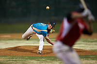 Mooresville Spinners relief pitcher Nolan DeVos (5) (Davidson College) delivers a pitch to the plate against the Lake Norman Copperheads at Moor Park on July 6, 2020 in Mooresville, NC.  The Spinners defeated the Copperheads 3-2. (Brian Westerholt/Four Seam Images)