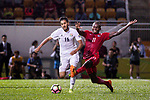 Musa Altmari of Jordan (L) fights for the ball with Paul Olivier Ngue of Hong Kong (R) during the International Friendly match between Hong Kong and Jordan at Mongkok Stadium on June 7, 2017 in Hong Kong, China. Photo by Cris Wong / Power Sport Images