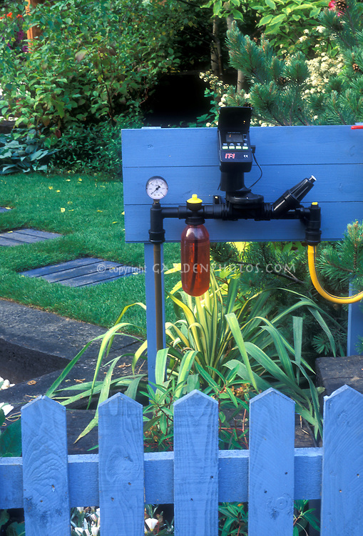 irrigation controls in garden, timers, automated