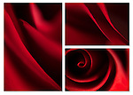 Close-up photographic triptych of red rose flowers. Images 170, 234 and 235.
