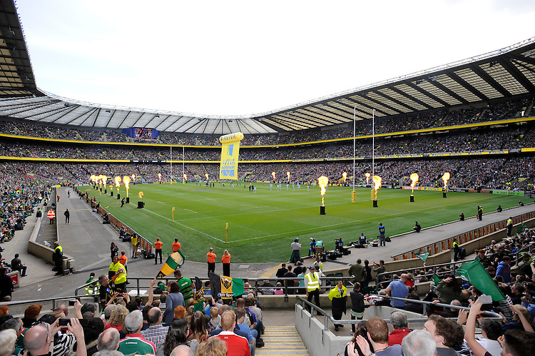 General view of Twickenham Stadium during the Aviva Premiership Final between Leicester Tigers and Northampton Saints on Saturday 25th May 2013 (Photo by Rob Munro)