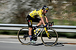 Yellow Jersey race leader Primoz Roglic (SLO) Team Jumbo-Visma in the peloton during Stage 7 of Paris-Nice 2021, running 119.2km from Le Broc to Valdeblore La Colmiane, France. 13th March 2021.<br /> Picture: ASO/Fabien Boukla | Cyclefile<br /> <br /> All photos usage must carry mandatory copyright credit (© Cyclefile | ASO/Fabien Boukla)
