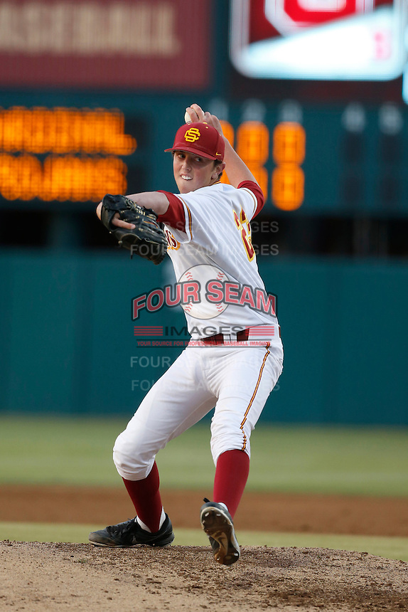 Brooks Kriske #23 of the USC Trojans pitches against the Stanford Cardinal at Dedeaux Field on April 5, 2013 in Los Angeles, California. (Larry Goren/Four Seam Images)