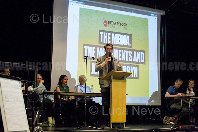"""James Schneider (National Organiser of Momentum).<br /> <br /> London, 15/09/2016. Today, """"Media Reform Coalition"""", held a meeting at Student Central in Malet street called """"The Media, The Movements and Jeremy Corbyn"""". From the organisers press release: <<[…] As part of the Media Reform Coalition's ongoing campaign for a media that informs, represents and empowers the public, this event will bring together media activists, workers and scholars to explore the media's misrepresentation of progressive movements and voices and shape a response that does them justice […]>>. <br /> Speakers included: Ken Loach, film and television Director; Justin Schlosbergd, media activist, researcher and Lecturer at Birkbeck University of London; Greg Philo, Professor and Director of Glasgow University Media Unit; Kam Sandhu, co-founder of Real Media; Chris Nineham, National Officer of Stop The War Coalition; James Schneider, National Organiser of Momentum; Angela Towers member of No More Page 3 Campaign; Des Freedman Chair of the event, member of the Media Reform Coalition and Professor of Media and Communications in the Department of Media and Communications at Goldsmiths, University of London.<br /> <br /> For more information please click here: http://www.mediareform.org.uk/blog/5-myths-corbyn-media-bias-labour & https://www.facebook.com/MediaReformUK/?fref=ts<br /> <br /> For the Video of the Event please click here: https://www.youtube.com/watch?v=mNbRpjy51Io"""