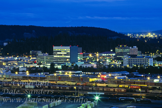 Prince George at dusk, down town, rail yard and lumber mill. British Columbia, Canada.