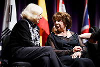 USA International Harp Competition Founder and Artistic Director Susann McDonald, left, speaks with jury president Skaila Kanga from the United Kingdom before the awards ceremony during the 11th USA International Harp Competition at Indiana University in Bloomington, Indiana on Saturday, July 13, 2019. (Photo by James Brosher)