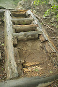 Appalachian Trail- A trail ladder on Wildcat Ridge Trail that needs to be repaired. Located in the White Mountains, New Hampshire USA.