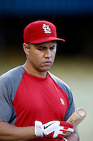 Carlos Beltran #3 of the St.Louis Cardinals before a game against the Los Angeles Dodgers at Dodger Stadium on September 13, 2012 in Los Angeles, California. St.Louis defeated Los Angeles 2-1. (Larry Goren/Four Seam Images)