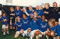 The Millwall team celebrate victory during Millwall Lionesses vs Wembley, FA Women's Cup Final Football at the New Den, Millwall FC on 4th May 1997