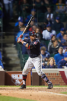 Cleveland Indians Rajai Davis (20) bats in the ninth inning during Game 4 of the Major League Baseball World Series against the Chicago Cubs on October 29, 2016 at Wrigley Field in Chicago, Illinois.  (Mike Janes/Four Seam Images)
