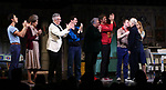 """Michael Hsu Rosen, Mercedes Ruehl, Richard Jackson, Moises Kaufman, Harvey Fierstein, Michael Urie, Ward Horton, Jack DiFalco, Roxanna Hope Radja and Richie Jackson during the Broadway Opening Night Curtain Call for """"Torch Song"""" at the Hayes Theater on November 1, 2018 in New York City."""