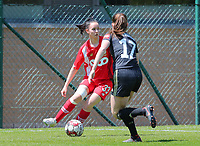Loredana Humartus (33) of Standard and Marie Detruyer (17) of OHL in action during a female soccer game between Standard Femina de Liege and Oud Heverlee Leuven on the 10th and last matchday in play off 1 of the 2020 - 2021 season of Belgian Scooore Womens Super League , saturday 29 th of May 2021  in Angleur , Belgium . PHOTO SPORTPIX.BE | SPP | SEVIL OKTEM