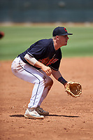 AZL Indians Blue third baseman Ike Freeman (12) during an Arizona League game against the AZL Indians Red on July 7, 2019 at the Cleveland Indians Spring Training Complex in Goodyear, Arizona. The AZL Indians Blue defeated the AZL Indians Red 5-4. (Zachary Lucy/Four Seam Images)