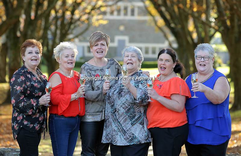 Pictured L-R: Julie Saunders, Doreen Thompson, Julie Amphlett, Jean Cairns, Louise Ward and SIan Jones. Wednesday 08 November 2017<br />Re: Presentation of hospital catering syndicate win £25m in Euromillions Jackpot at Hensol Castle, south Wales, UK. Julie Saunders, 56, Doreen Thompson, 56, Louise Ward, 37, Jean Cairns, 73, SIan Jones, 54 and Julie Amphlett, 50 all work as catering staff for Neath Port Talbot Hospital in south Wales.