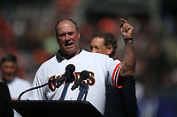 SAN FRANCISCO, CA - AUGUST 11:  Former San Francisco Giants player Will Clark talks to the crowd after hearing his #22 will be retired next season during a ceremony honoring the 1989 Giants during a 30 year team reunion before the game between the Philadelphia Phillies and San Francisco Giants at Oracle Park on Sunday, August 11, 2019 in San Francisco, California. (Photo by Brad Mangin)