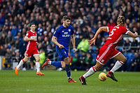 Callum Paterson of Cardiff City runs at Ryan Shotton of Middlesbrough during the Sky Bet Championship match between Cardiff City and Middlesbrough at the Cardiff City Stadium, Cardiff, Wales on 17 February 2018. Photo by Mark Hawkins / PRiME Media Images.