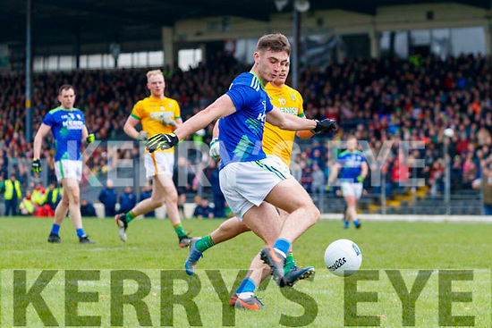 David Shaw, Kerry in action against James McEntee, Meath during the Allianz Football League Division 1 Round 4 match between Kerry and Meath at Fitzgerald Stadium in Killarney, on Sunday.