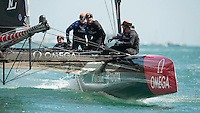 25 July 2015: Emirates Team New Zealand approach the mark during the America's Cup first round racing off Portsmouth, England (Photo by Rob Munro)
