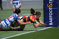 Waikato's Mia Anderson scores during the Farah Palmer Cup women's rugby union match between Auckland Storm and Waikato at Eden Park in Auckland, New Zealand on Sunday, 18 October 2020. Photo: Dave Lintott / lintottphoto.co.nz