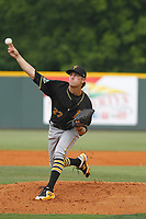 Bristol Pirates pitcher Steven Jennings (27) on the mound during a game against the Greeneville Reds at Pioneer Field on June 19, 2018 in Greeneville, Tennessee. Bristol defeated Greeneville 10-2. (Robert Gurganus/Four Seam Images)