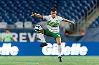 FOXBOROUGH, MA - AUGUST 26: Brandon Fricke #15 of Greenville Triumph SC attempts to control the ball during a game between Greenville Triumph SC and New England Revolution II at Gillette Stadium on August 26, 2020 in Foxborough, Massachusetts.