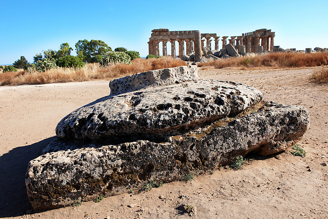 Capital of a Greek Dorik Column - Selanute Sicily photography, pictures, photos, images & fotos. Greek Dorik Temple columns of the ruins of the Temple of Hera, Temple E, Selinunte, Sicily