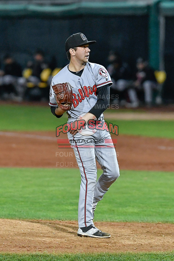 Jesse Adams (40) of the Billings Mustangs delivers a pitch to the plate against the Orem Owlz in Game 2 of the Pioneer League Championship at Home of the Owlz on September 16, 2016 in Orem, Utah. Orem defeated Billings 3-2 and are the 2016 Pioneer League Champions. (Stephen Smith/Four Seam Images)
