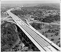 1968 FILE PHOTO - ARCHIVES -<br /> <br /> 1968 FILE PHOTO -<br /> <br /> A conveyor belt for traffic snakes across city. Snaking across the northern areas of Toronto; the MacDonald-Cartier Freeway resembles a huge concrete conveyor belt as it performs its vital link in the cross-Canada highway system. This photograh; taken at the 12-lane intersection with Yonge St.; is one of a series of aerial views of the city taken by Star photographer
