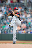 Rochester Red Wings starting pitcher Jose Berrios (16) in action against the Charlotte Knights at BB&T BallPark on August 8, 2015 in Charlotte, North Carolina.  The Red Wings defeated the Knights 3-0.  (Brian Westerholt/Four Seam Images)