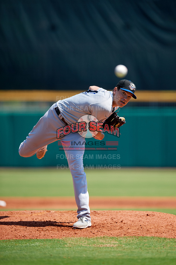 Biloxi Shuckers starting pitcher Cody Ponce (44) delivers a pitch during a game against the Montgomery Biscuits on May 8, 2018 at Montgomery Riverwalk Stadium in Montgomery, Alabama.  Montgomery defeated Biloxi 10-5.  (Mike Janes/Four Seam Images)