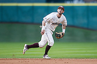 Texas A&M Aggies second baseman Patrick McLendon (16) on defense during Houston College Classic against the Nebraska Cornhuskers on March 6, 2015 at Minute Maid Park in Houston, Texas. Texas A&M defeated Nebraska 2-1. (Andrew Woolley/Four Seam Images)