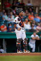 Bowling Green Hot Rods catcher Ronaldo Hernandez (24) during a game against the Peoria Chiefs on September 15, 2018 at Bowling Green Ballpark in Bowling Green, Kentucky.  Bowling Green defeated Peoria 6-1.  (Mike Janes/Four Seam Images)