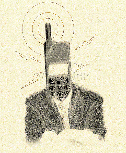 Drawing illustrating the future, man, mobile head.
