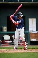 New Hampshire Fisher Cats third baseman Vladimir Guerrero Jr. (27) at bat during the second game of a doubleheader against the Harrisburg Senators on May 13, 2018 at FNB Field in Harrisburg, Pennsylvania.  Harrisburg defeated New Hampshire 2-1.  (Mike Janes/Four Seam Images)